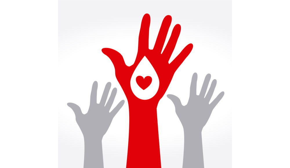 Hands reaching up - blood donation