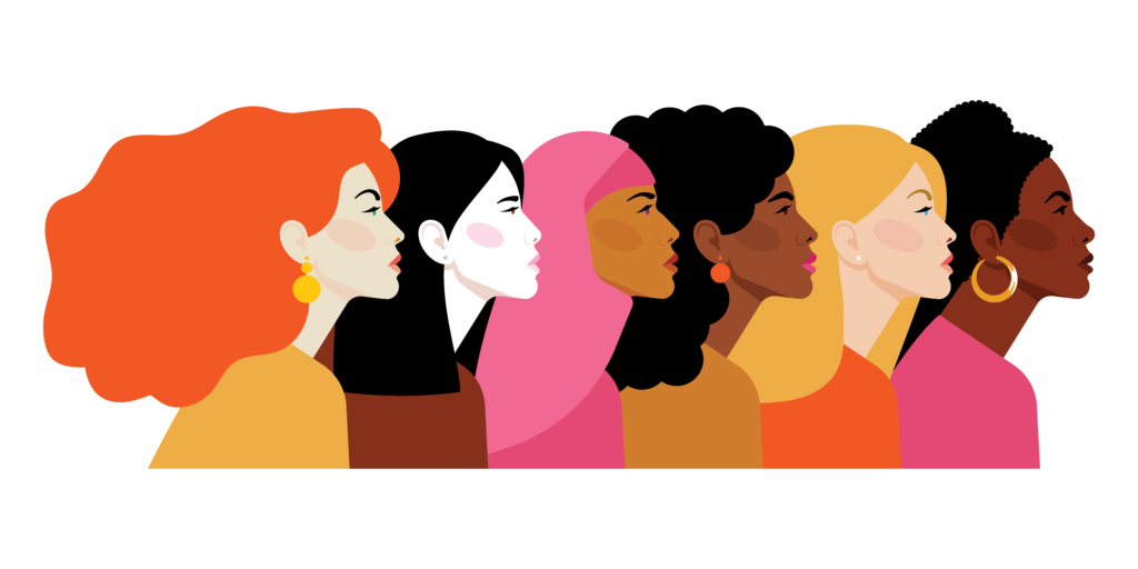 Illustration of six women looking ahead
