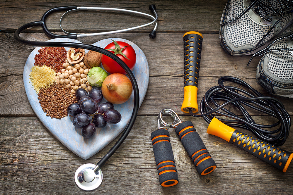 fruit and workout equipment