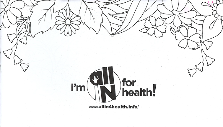 All IN for Health adult coloring book cover