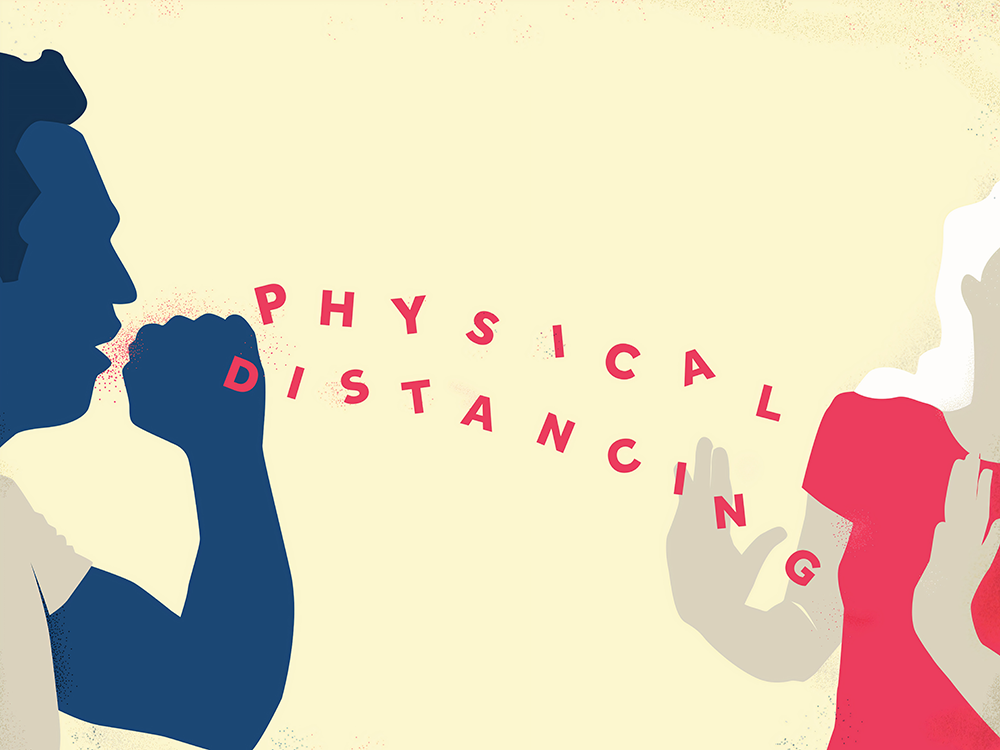 "graphic of two people and the words ""physical distancing"""