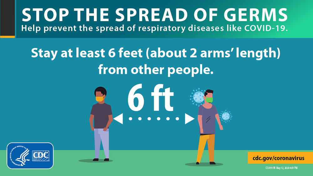 stop the spread of germs by staying at least 6 ft apart