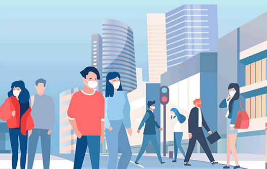 Illustration of people walking in city wearing mask