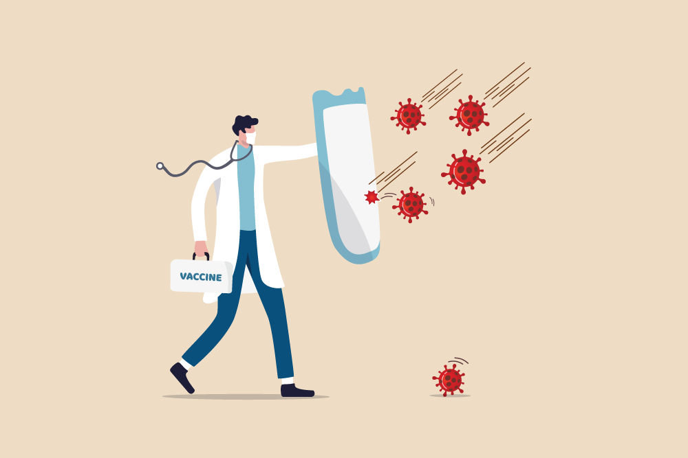"Man wearing mask, carrying sheild, ""fighting off"" virus illustration"