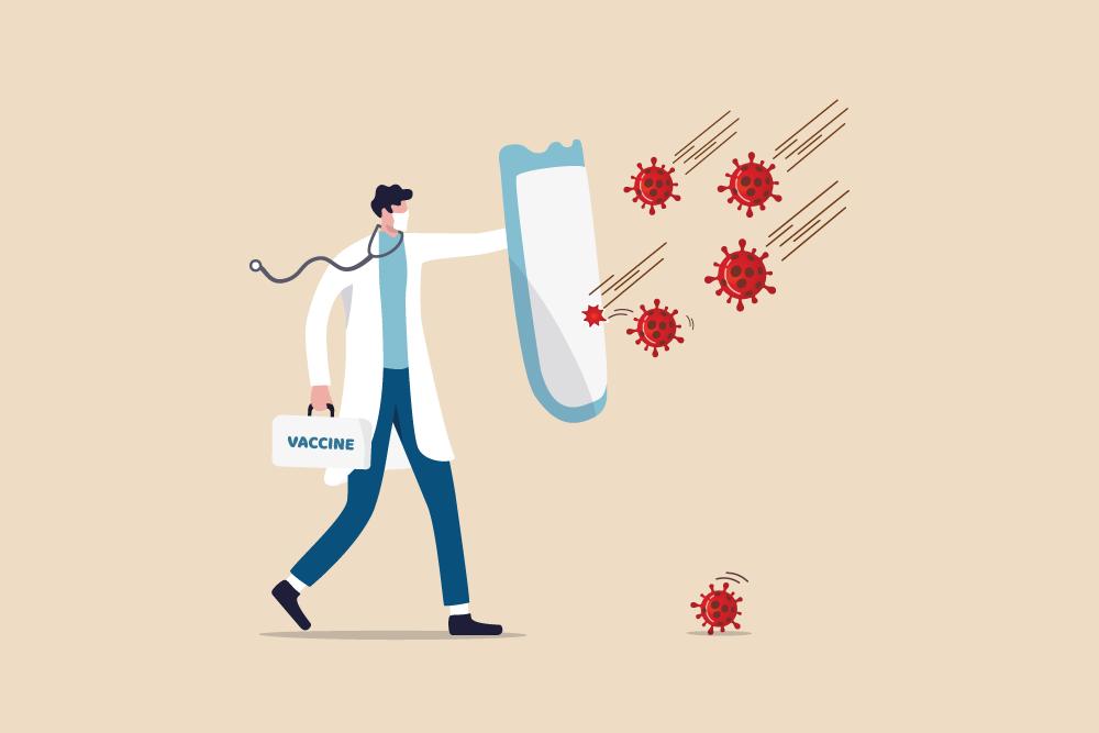 "Man wearing mask, carrying sheild, ""fighting off"" virus illustration"